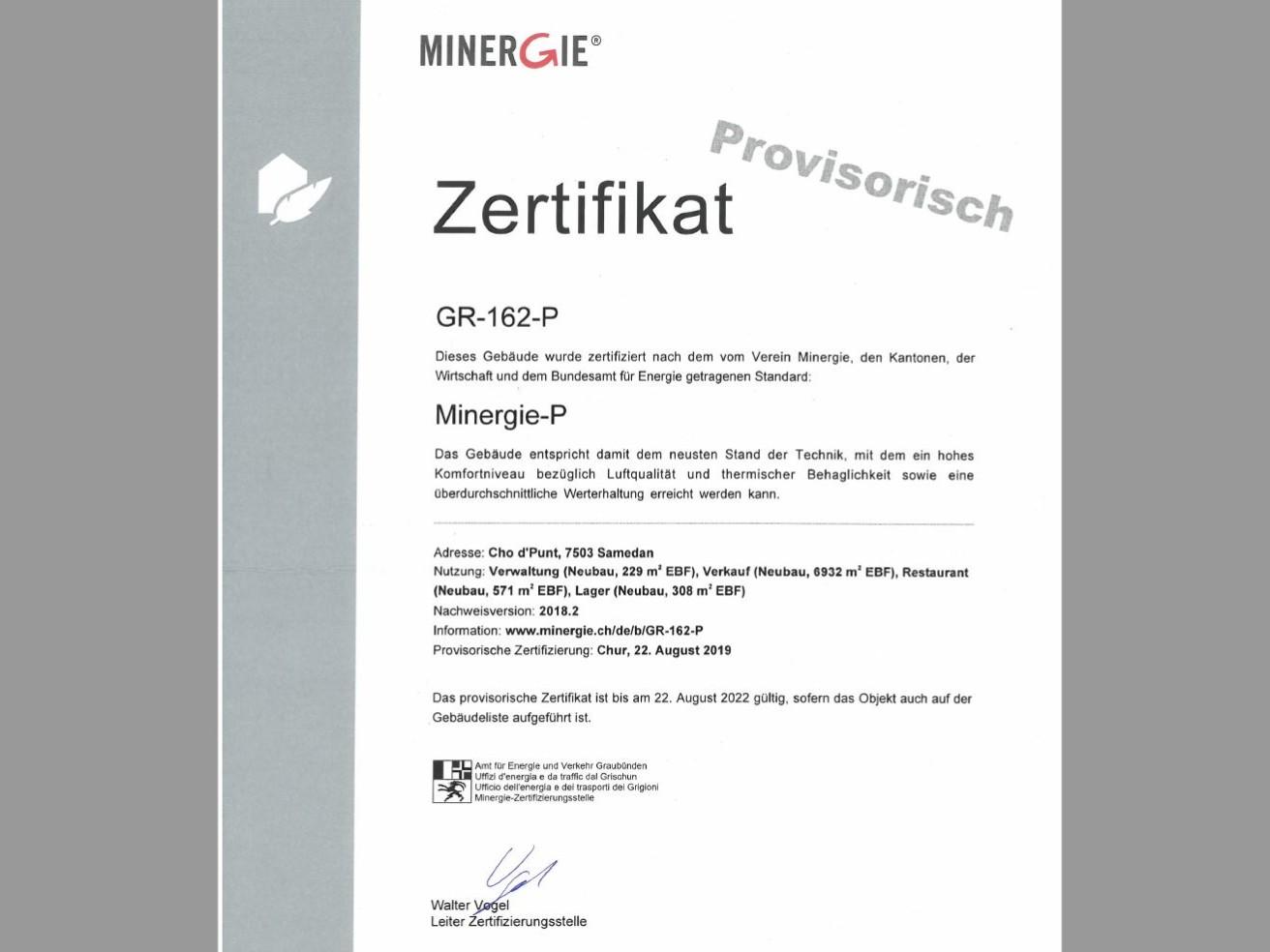 Minergie-P Zertifikat